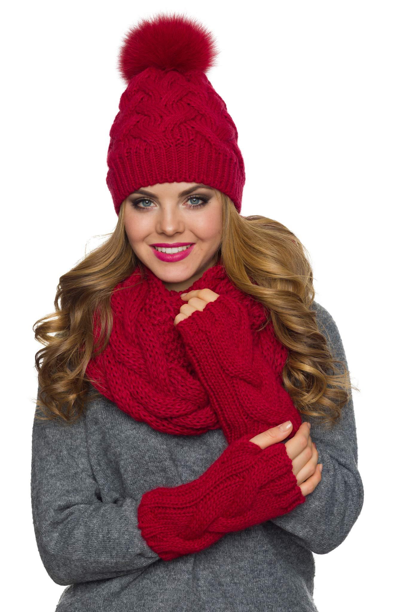 Hat Scarf Gloves Set, Pom Pom Hat fleece lined Infinity Scarf Fingerless Gloves set (Red)