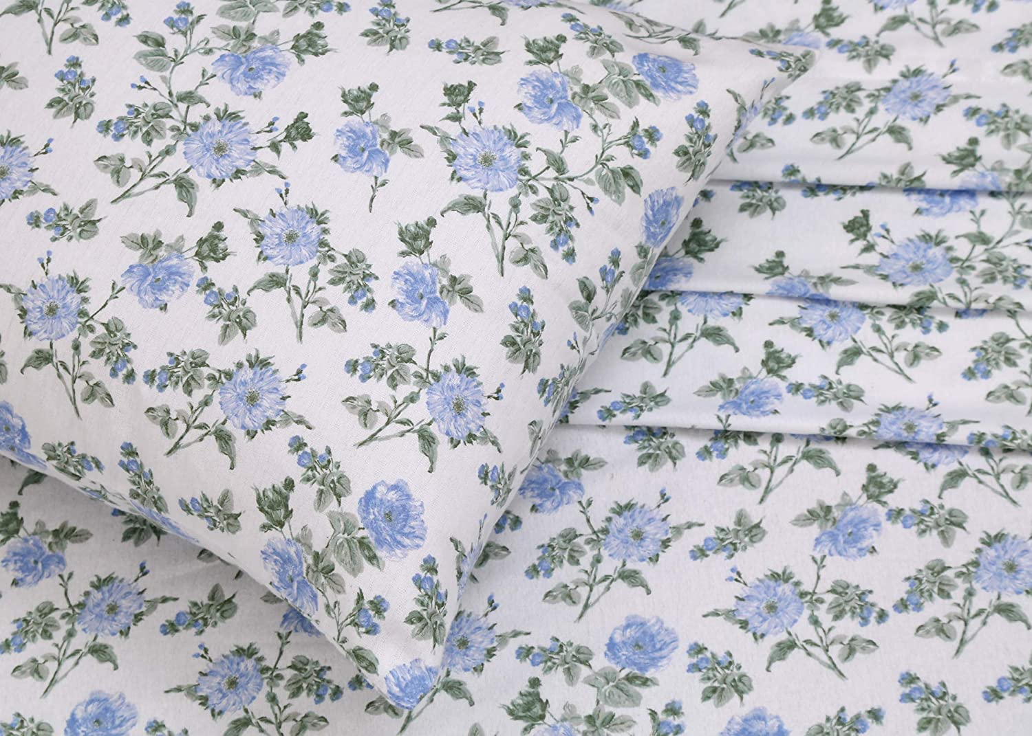 Warm Super Soft Breathable Moisture Wicking Flannel Bed Sheet Set Full Include Flat Sheet Deep Pocket Fitted Sheet 2 Pillowcases Ruvanti 100 Cotton 4 Piece Flannel Sheets Full Floral Design Bedding Sheets