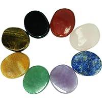Juego de 8 piedras de chakra, forma ovalada, para curación de cristales, meditación, reiki o como piedras de…