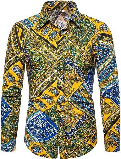 HoSayLike Camisas De Hombre De Vestir Estampadas Negocios Casual Moda Solapa Manga Larga De Un Solo Pecho Transpirable Blusa Todos Los Dias Slim Fit M-XXXXXL: Amazon.es: Ropa y accesorios