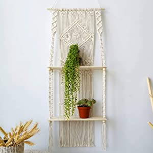 Macrame Wall Hanging Shelf - Boho Indoor Hanging Shelves for Wall - Bohemian Hanging Storage Room Organizer Wall Yarn - Decorative Macrame Floating Plant Shelf - Handmade Macrame Rope Wall Decor