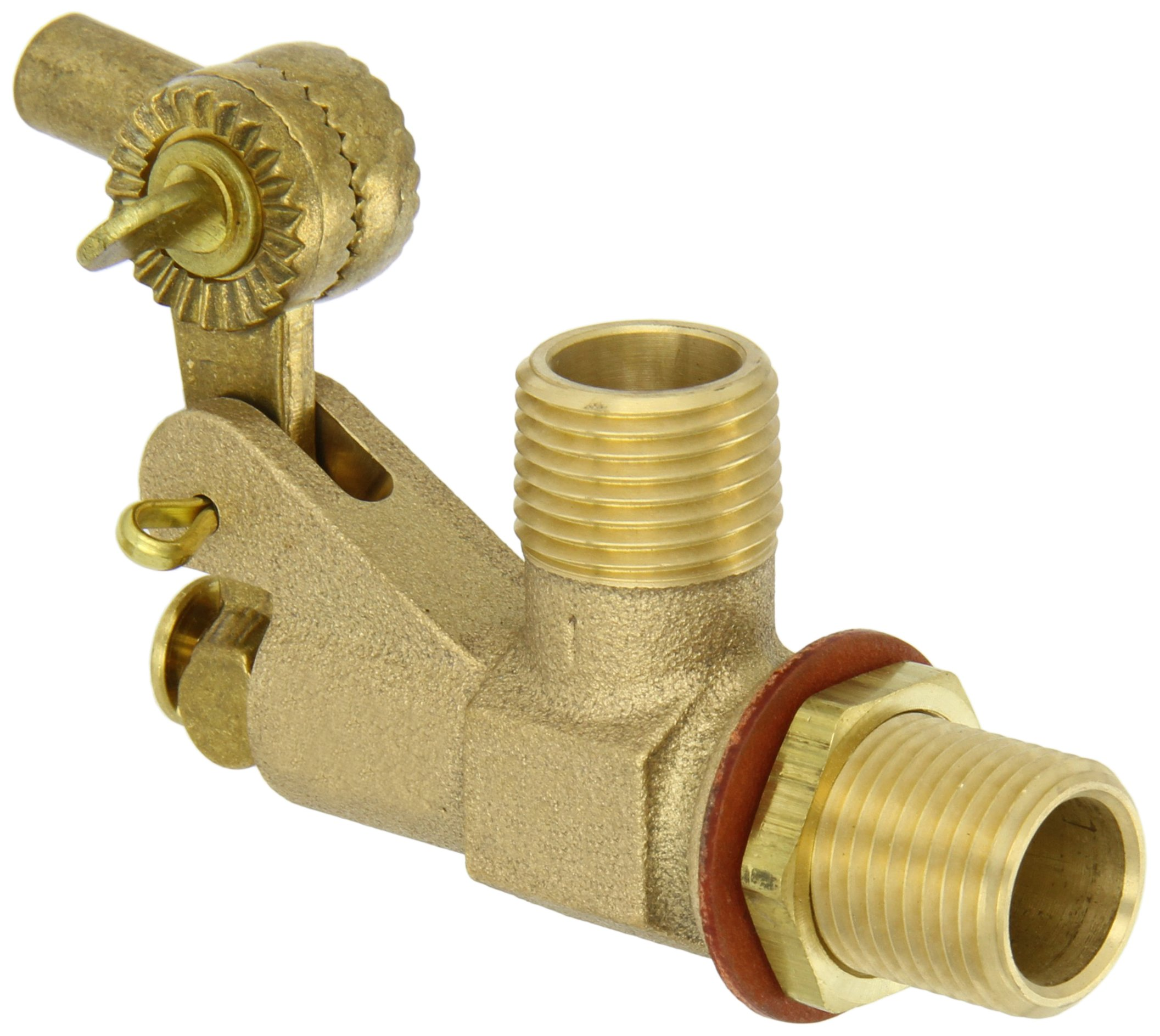 Robert Manufacturing R700L Series Bob Red Brass Tank Wall Mounted Bulkhead Float Valve with Locknut and Gasket, 1/2'' NPT Male Straight Inlet x 1/2'' NPT Male Outlet, 22 gpm at 85 psi Pressure