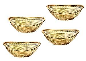 Impressive Creations Reusable Decorative Serving Basket – Plastic Fruit Basket – Bread Basket with Elegant Rose Gold Finish – Functional and Modern Weaved Design – 4pk