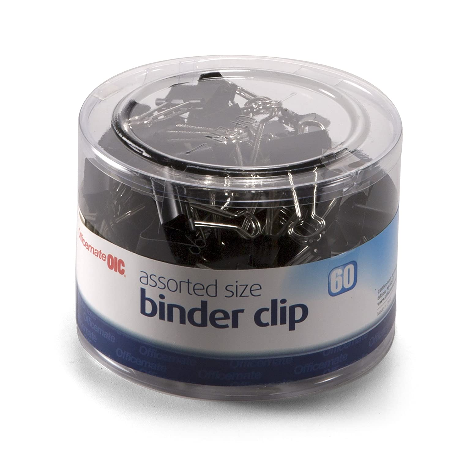 Officemate Assorted Size, 50 Small/10 Medium, Binder Clips, Black, 60 per Tub (31025) Officemate International