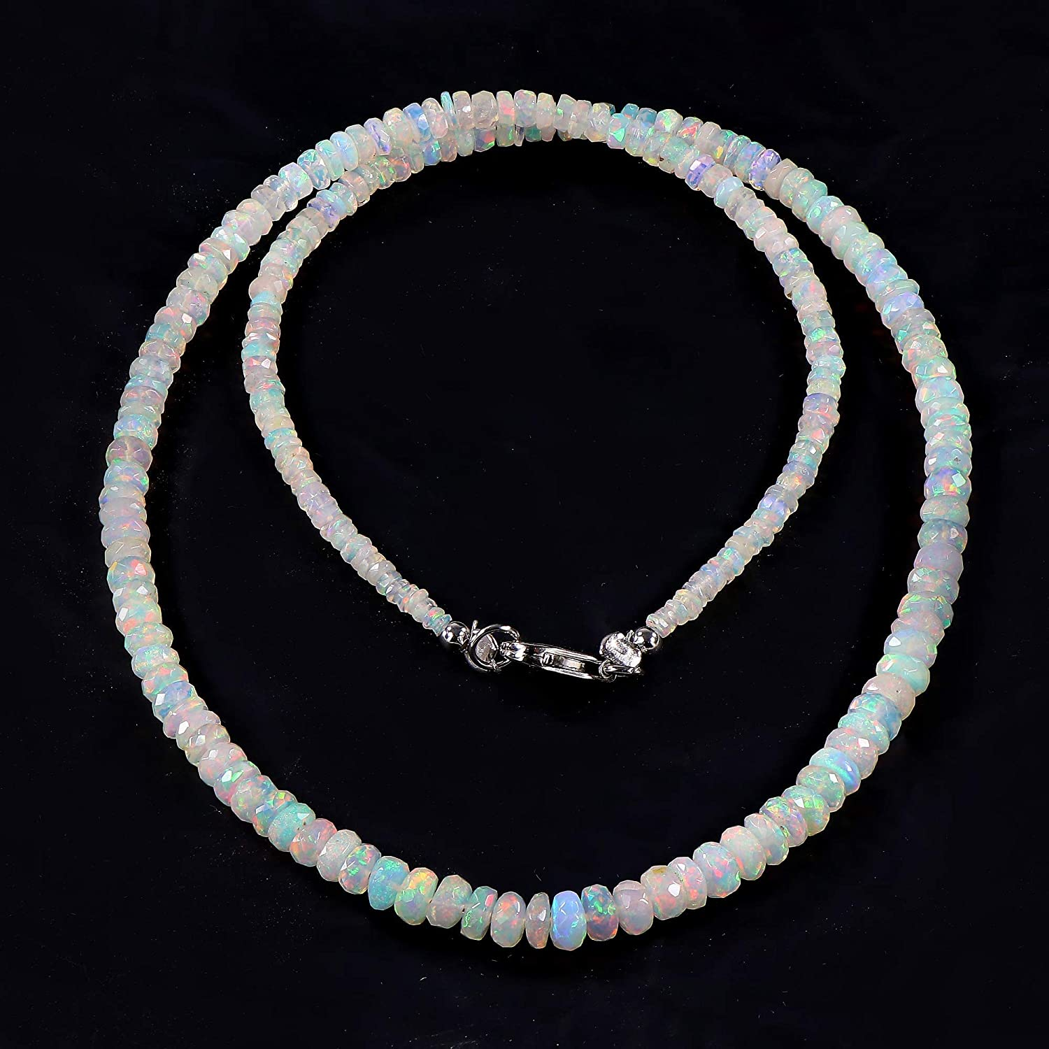 Multi Fire Opal Tumble Handmade Spinel Opal  Necklace 28 Carat 17 Natural Ethiopian Opal Tumble Necklace Black Spinel Necklace