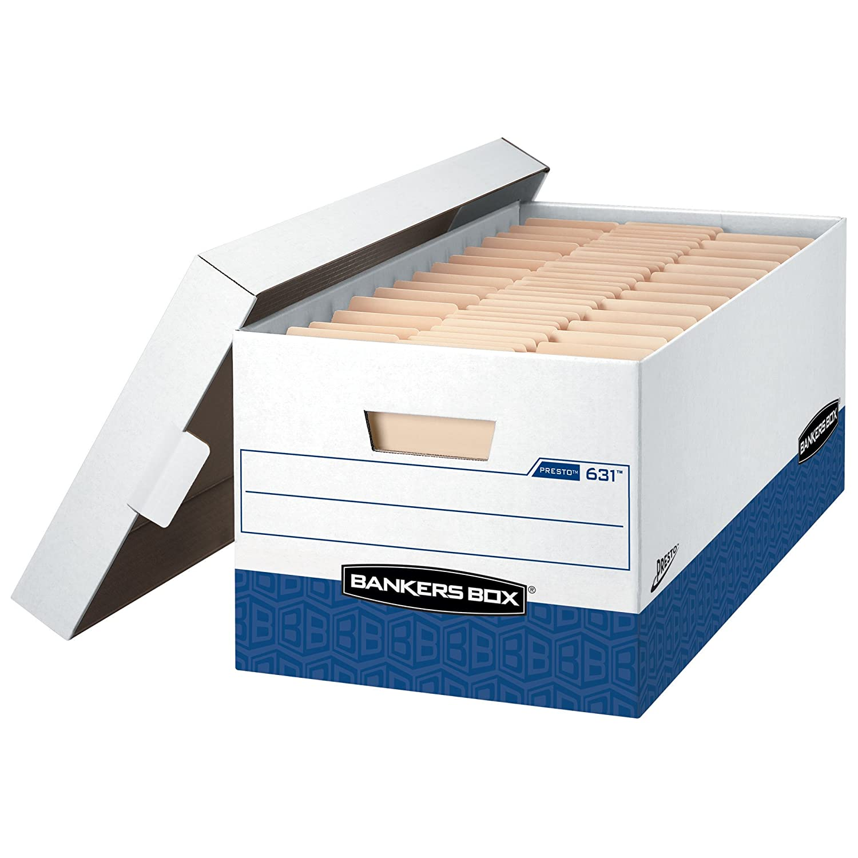 Bankers Box 0063101 Presto Heavy-Duty Storage Box, Letter Size, Single Fellowes