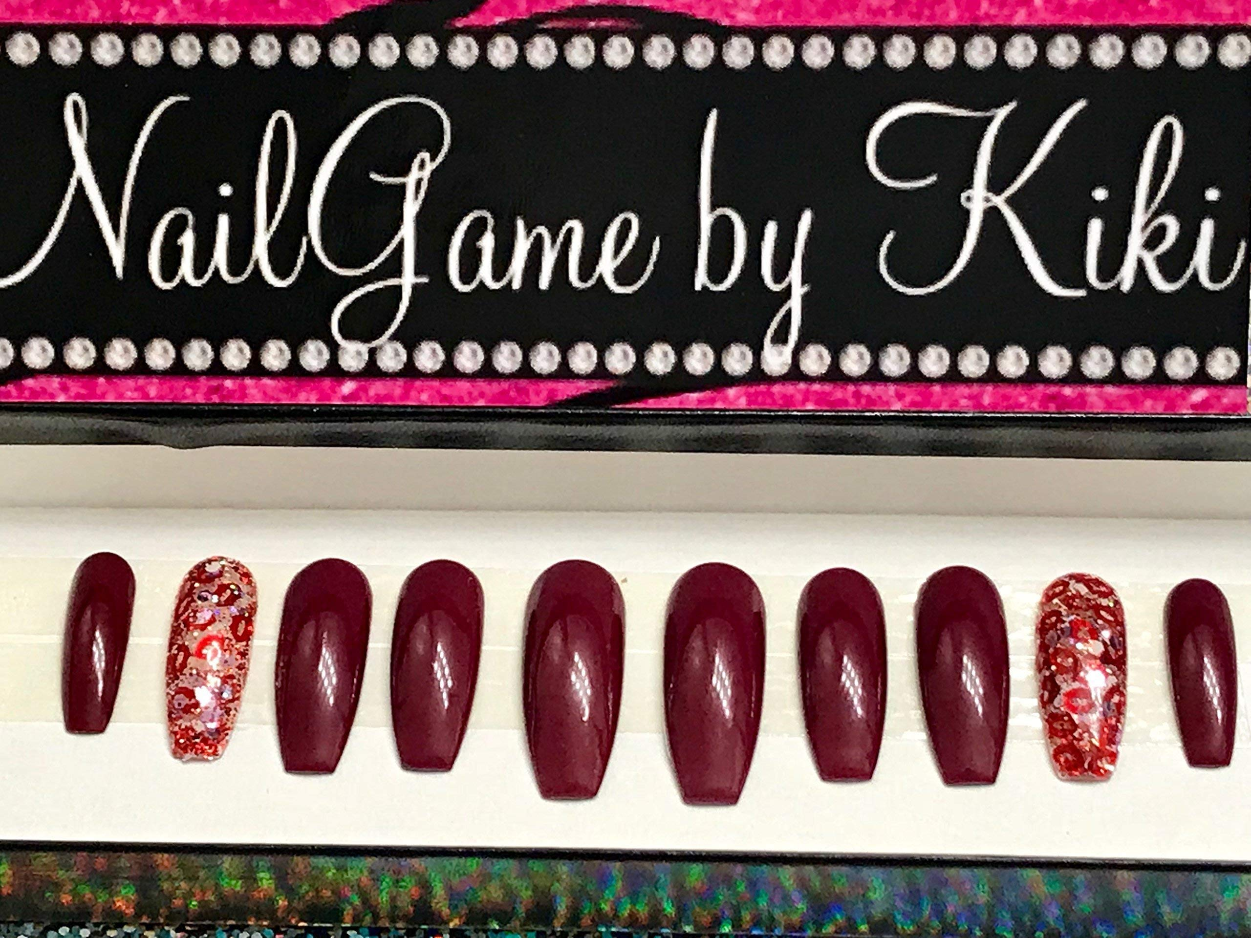 Kiki Kisses Maroon Red and Glitter lips accent Nails Hand Designed Press on Nails