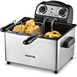 Gourmia GDF475 Compact Electric Deep Fryer 3 Baskets Dual Thermostat & Timer Dials Stainless Steel Food Capacity Anti-Grease Fry Filter with Free E-Recipe Book - 110/120V