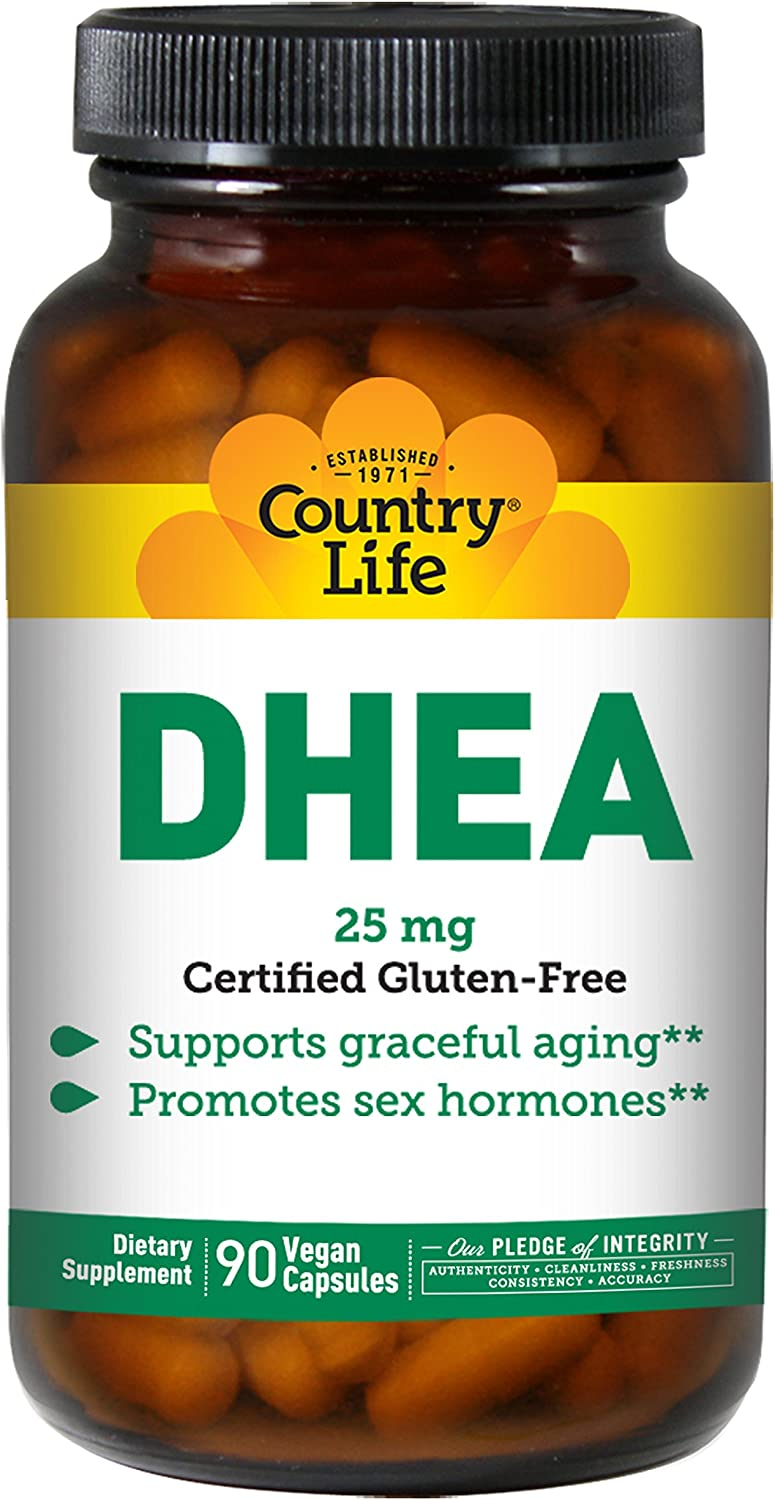 Country Life DHEA 25mg (Dehydroepiandrosterone) Graceful Aging Support for Men & Women - Promotes Sex Hormone Production - Non-GMO, Vegan, Gluten-Free - 90 Vegetarian Capsules