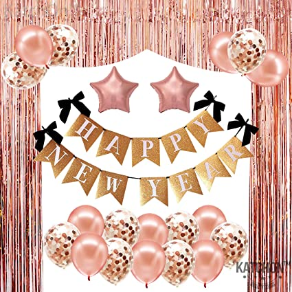 Happy New Year Decorations 2021 Kit Rose Gold New Year Party Supplies Celebration Happy New Year Banner Numer 2021 Balloons Tinsel Backdrop Curtain