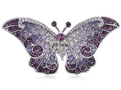 6a1e9bccda6 Empress Monarch Winged Butterfly Swarovski Crystal Rhinestones Brooch Pin -  Purple