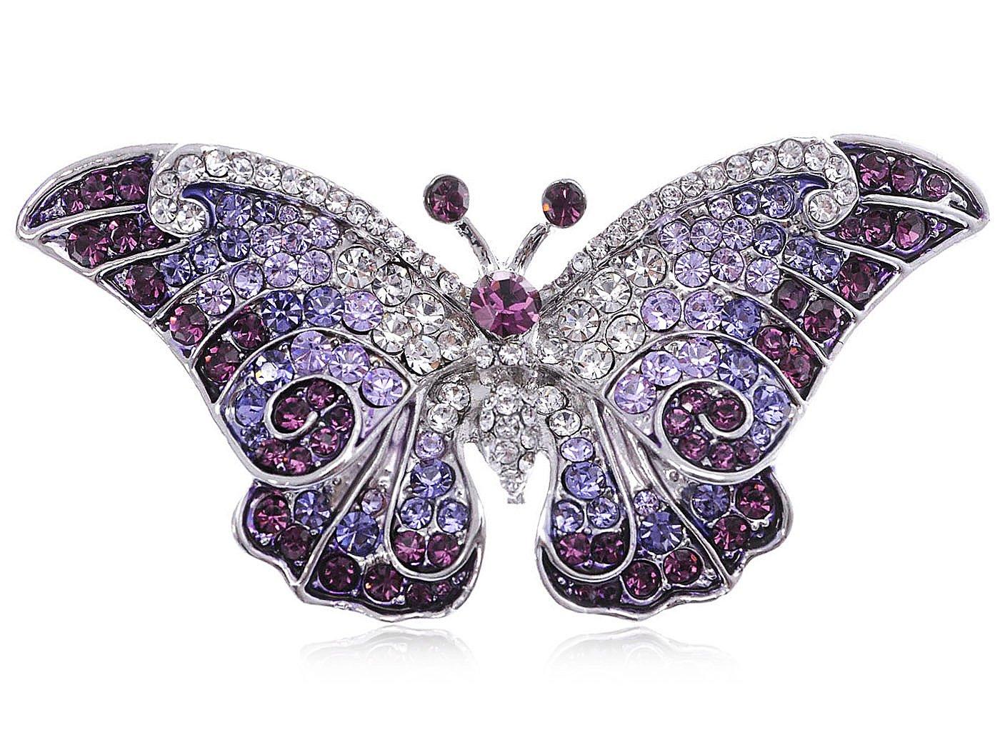 Empress Monarch Winged Butterfly Swarovski Crystal Rhinestones Brooch Pin - Purple