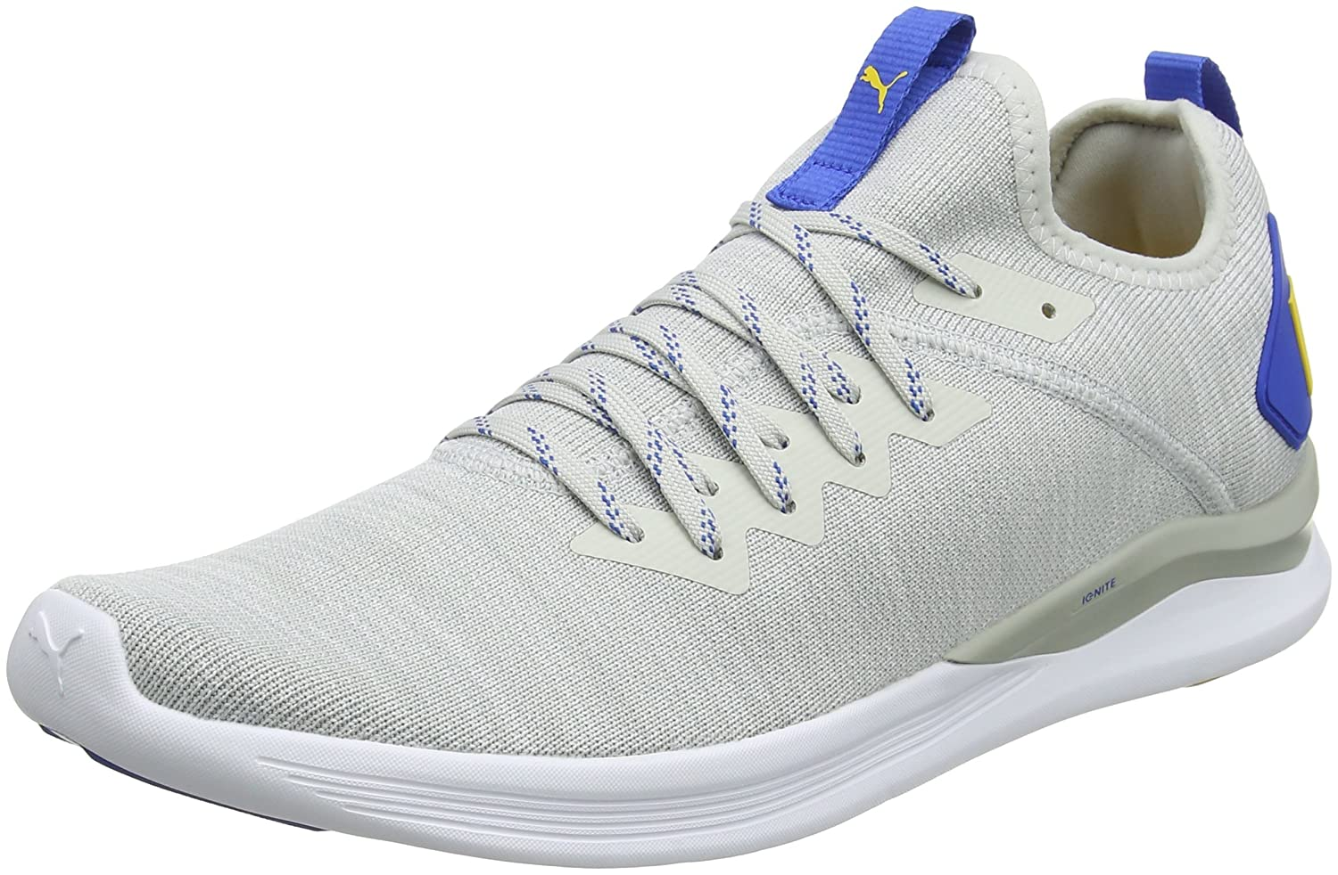 Puma Ignite Flash Evoknit, Zapatillas de Entrenamiento para Hombre 45 EU|Gris (Glacier Gray-puma White-strong Blue-spectra Yellow 12)