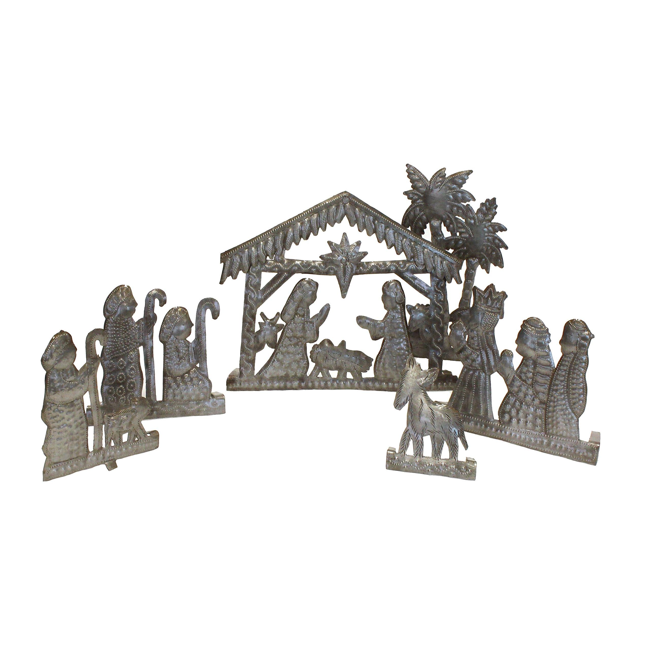 Fair Trade 6 Piece Christmas Metal Nativity Set from Haiti