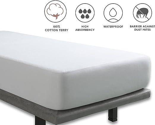 Tural - Protector de colchón Impermeable. Rizo 100% Algodón. Talla ...