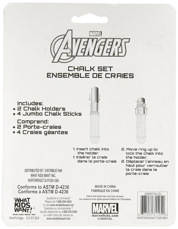 2-Pack Set Marvel Avengers 4pc Jumbo Sidewalk Chalk with 2 Holders Spin Master DP2167SA