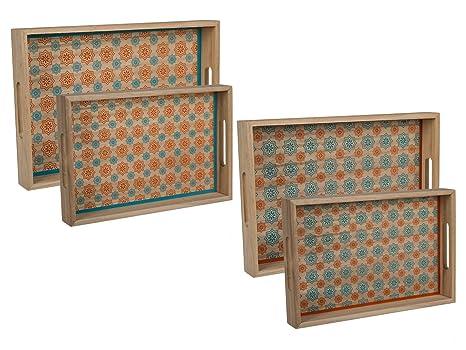 Vintage vassoio da portata vassoio in legno piastrelle messicano