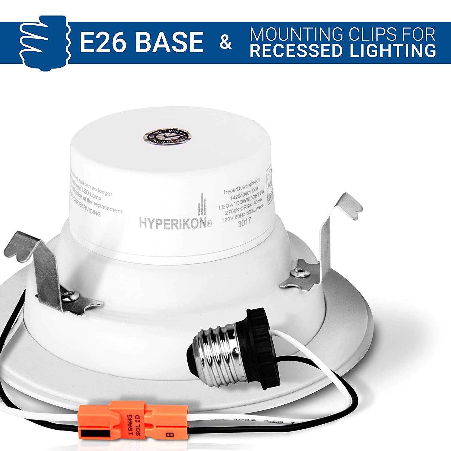 Hyperikon 4 Inch Dimmable Recessed Led Downlight 9w 65w Equivalent Wiring Diagram 2700k Warm White Cri94 Retrofit Lighting Fixture Energy Star 630 Lumens Great