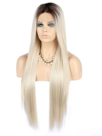 Amazon.com   eNilecor Platinum Blonde Lace Front Wigs 40050625ebd2
