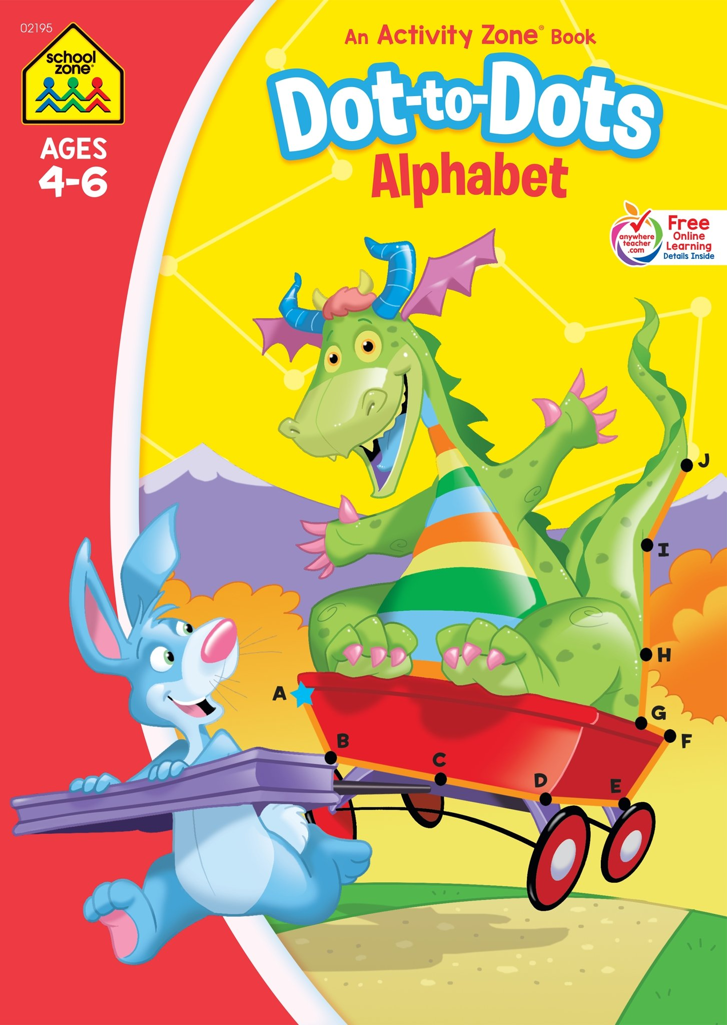 SCHOOL ZONE - Dot-to-Dots Alphabet Workbook, Ages 4 to 6, Letters, Alphabet, Sequencing, Illustrations and More!