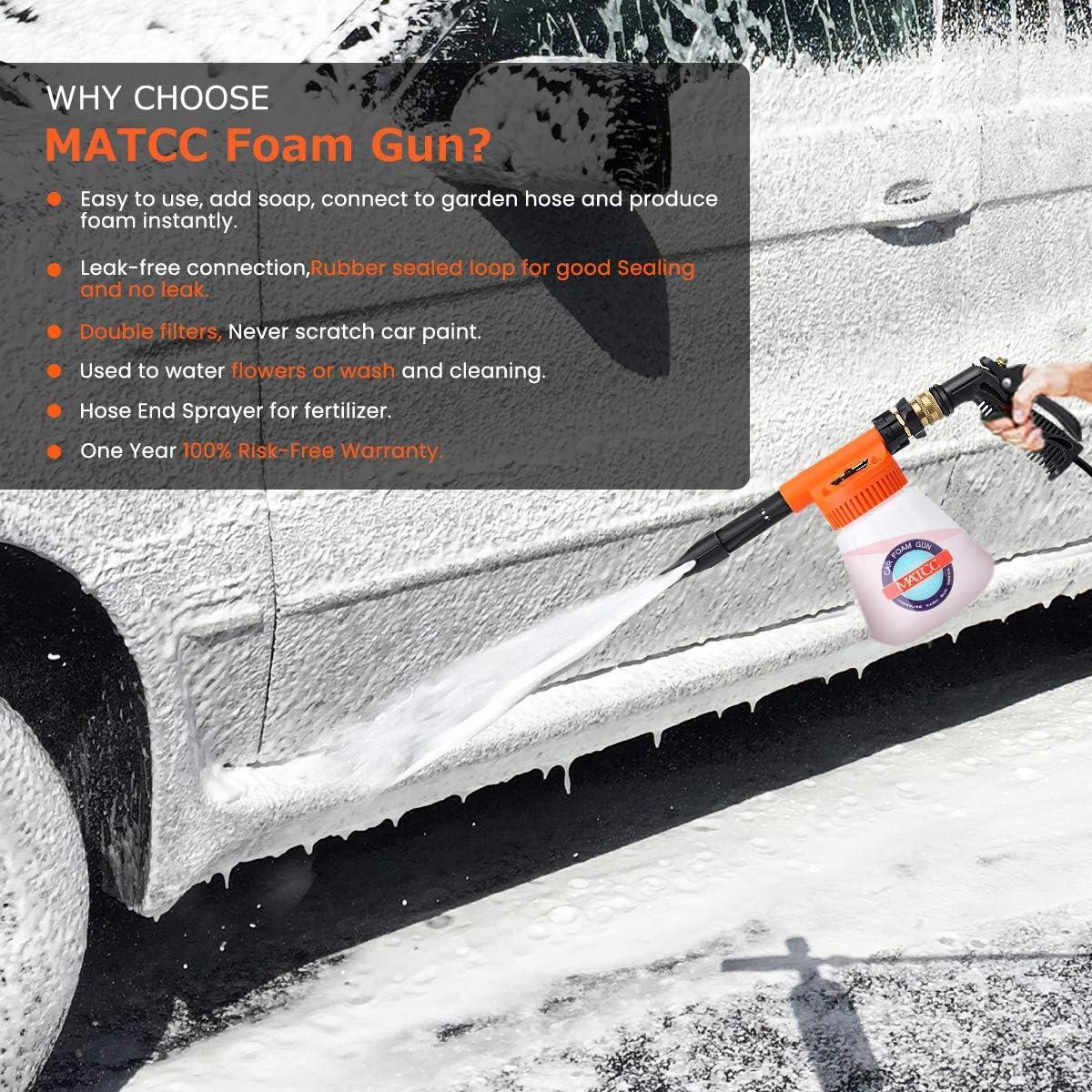Matcc Auto Schaumkanone Blaster Und Schlauch Schaumsprüher Schaumdüse Sprühgerät Mit Einstellverhältnis Einstellrad Passen Gartenschlauch Für Auto Hausreinigung 0 23 Gallonen Flasche Baumarkt