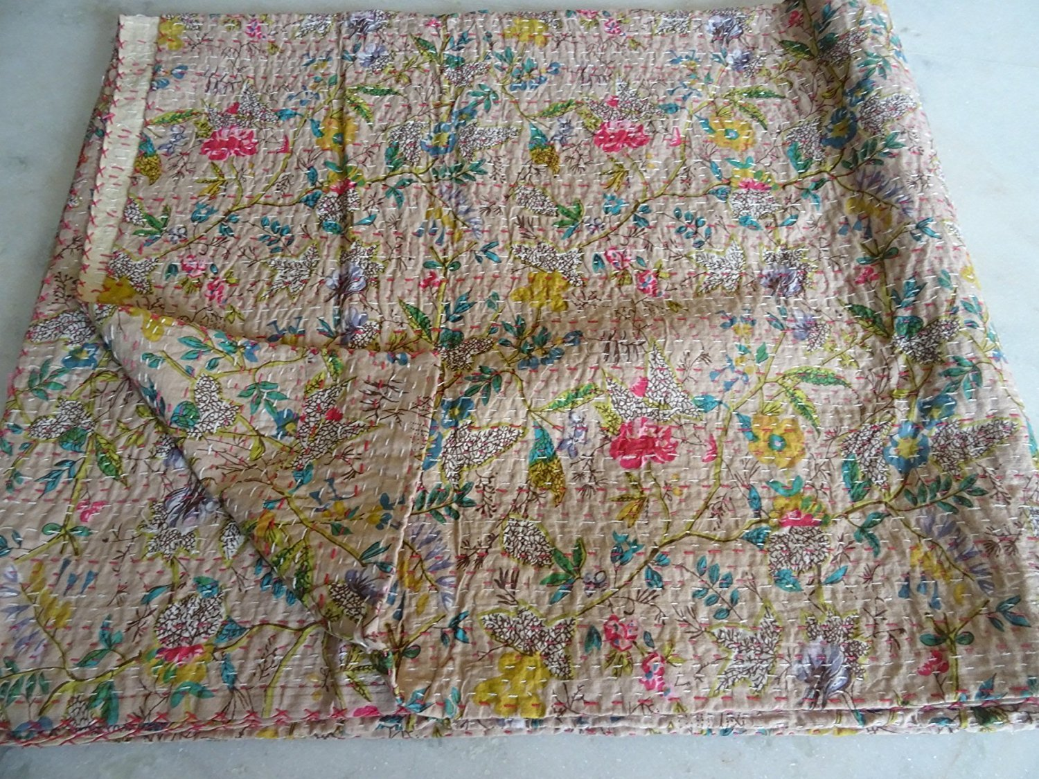 Indian Multicolor Paisley PARADISE Print King Size Kantha Quilt , Kantha Blanket, Bed Cover, King Kantha bedspread, Bohemian Bedding Kantha (Begie) by Sophia Art (Image #1)