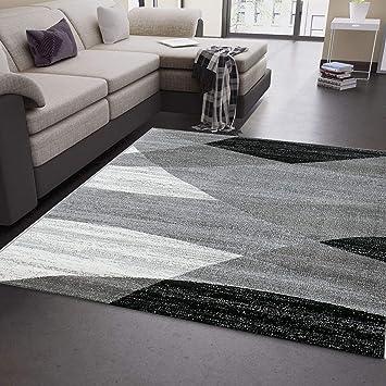 Teppich Wohnzimmer Modern Geometrisches Muster Gestreift Meliert in Grau  Weiß Schwarz 120x170 cm