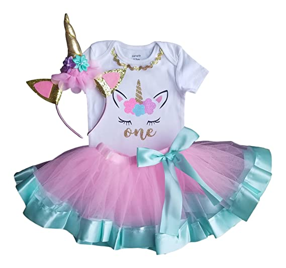 9176b0f4c Amazon.com  1st Birthday Outfit Baby Girl Tutu - Unicorn  Clothing