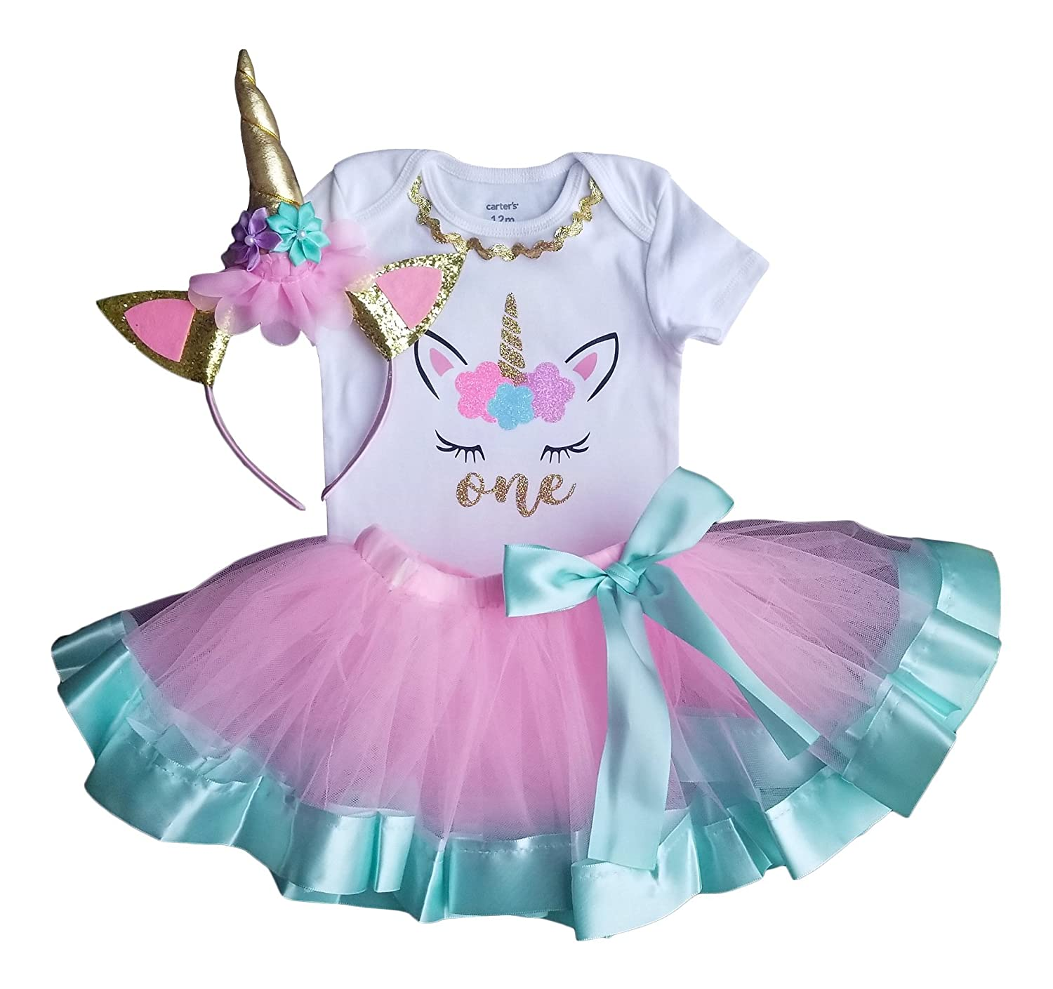0d5e9c70e9d5a Amazon.com: 1st Birthday Outfit Baby Girl Tutu - Unicorn: Clothing