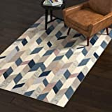 Rivet Modern Geometric Wool Area Rug, 5 x 8