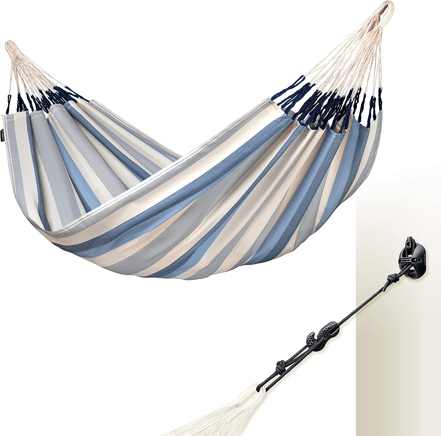 LA SIESTA Brisa Sea Salt – Weather-Resistant Double Classic Hammock with CasaMount Black Multipurpose Suspension