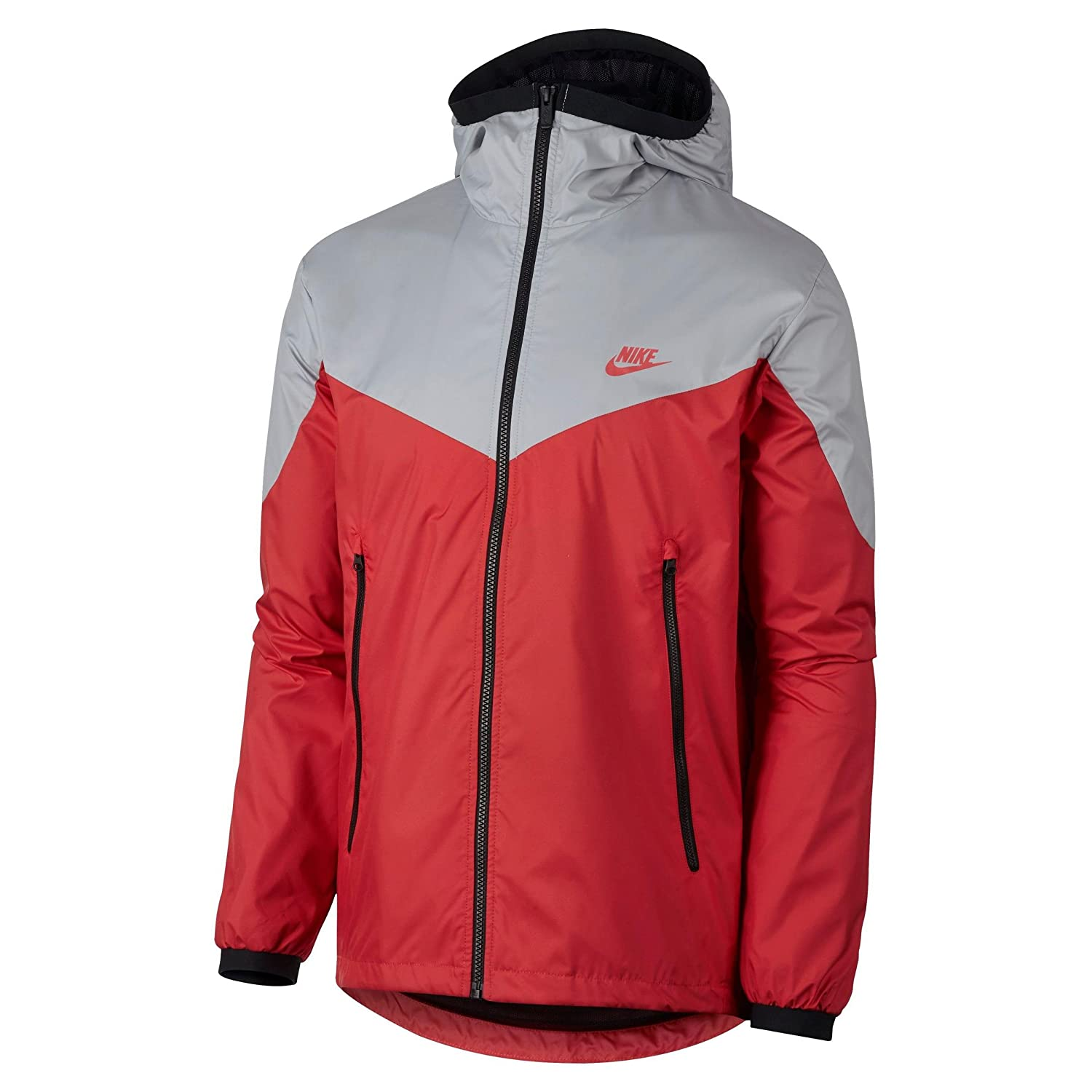 NIKE Mens Windrunner Hooded Track Jacket (Red/Grey, XX-Large)