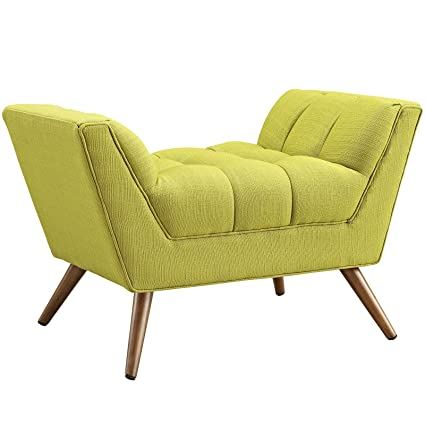 Modway Response Mid Century Modern Ottoman Upholstered Fabric In Wheatgrass