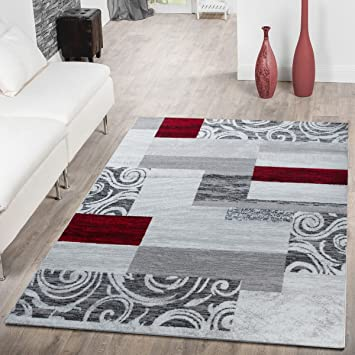 Tapis Abordable Patchwork Design Moderne Tapis pour Salon en Gris Rouge  Blanc, Dimension:160x220 cm