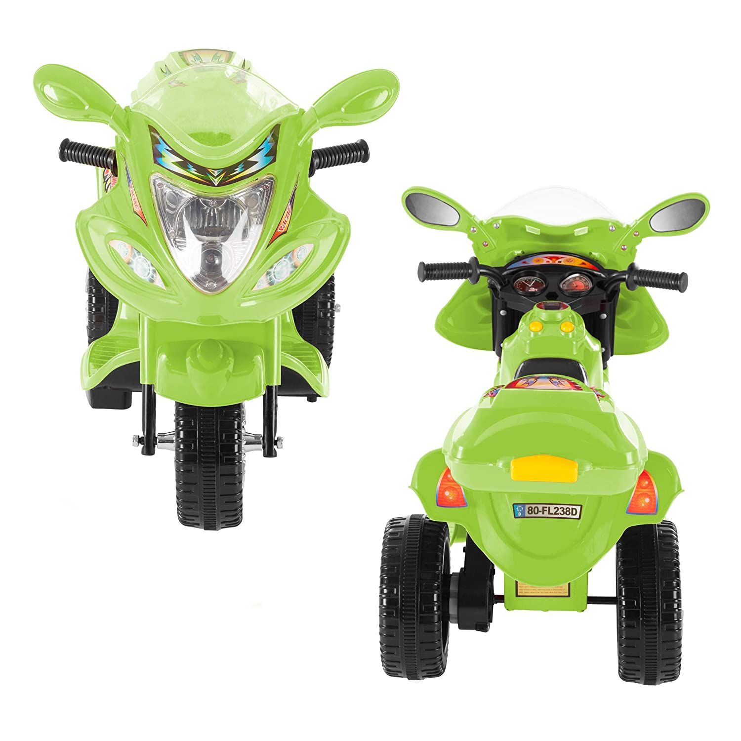 Battery Operated Electric Tricycle for Toddlers with Built-in Sound and Working Headlights Lil Rider Ride-On Toy Trike Motorcycle Green