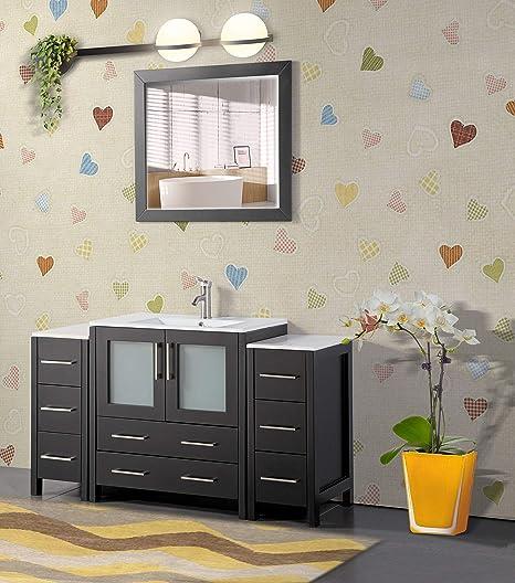 Amazon Com Vanity Art 54 Inch Single Sink Modern Bathroom Vanity Combo Set 1 Shelf 8 Drawers Ceramic Top Bathroom Cabinet With Free Mirror Va3030 54 E Kitchen Dining