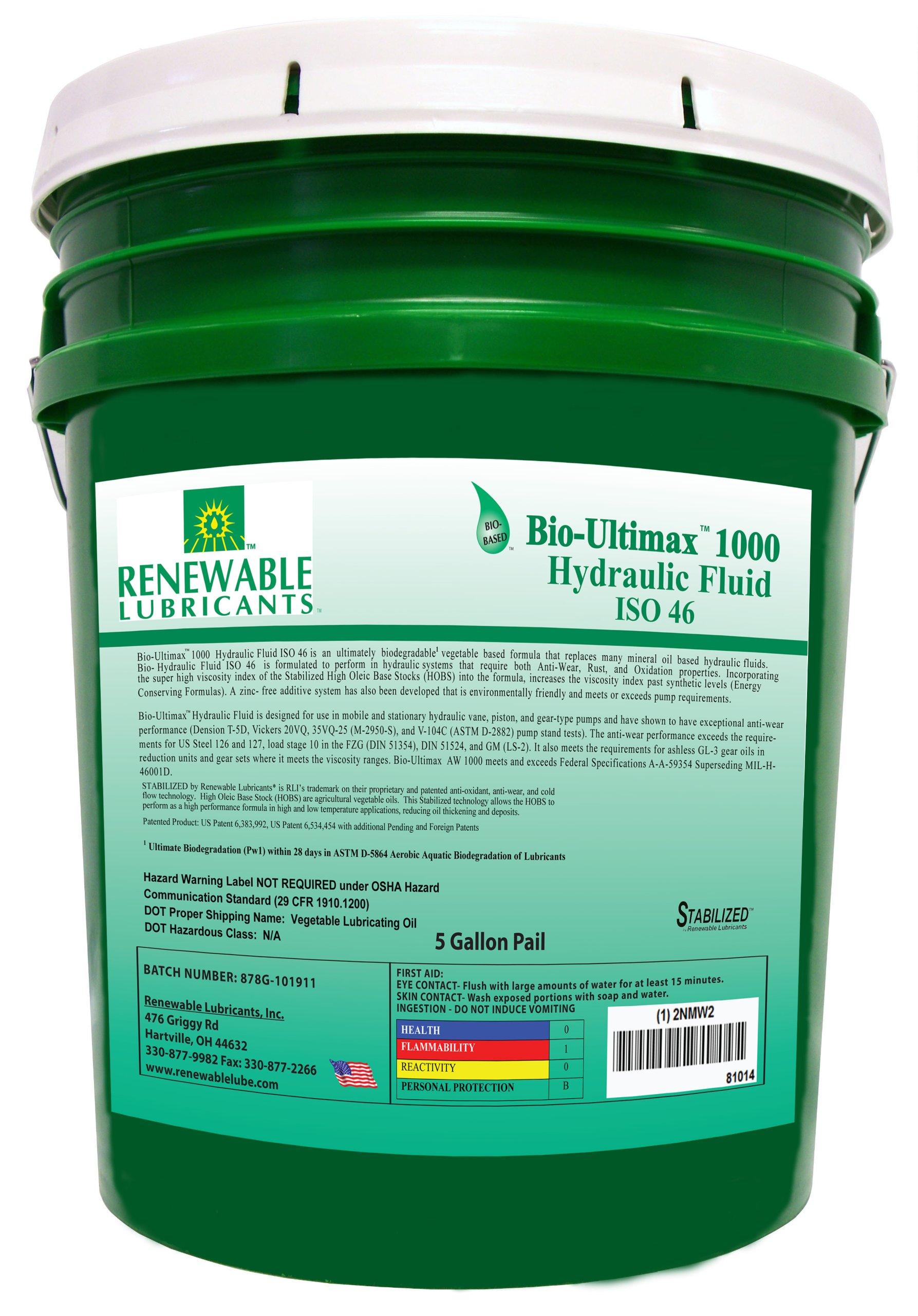 Renewable Lubricants Bio-Ultimax 1000 ISO 46 Hydraulic Lubricant, 5 Gallon Pail by Renewable Lubricants