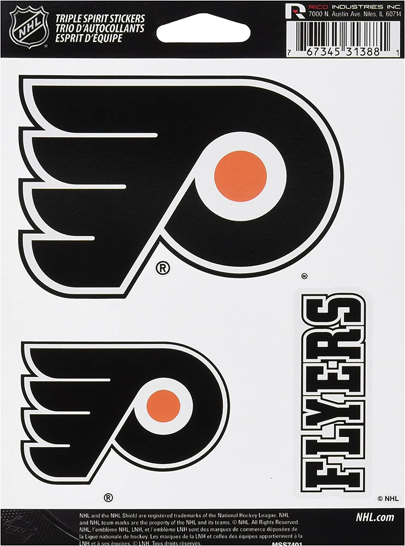 NHL Philadelphia Flyers Team Decal 3-Pack