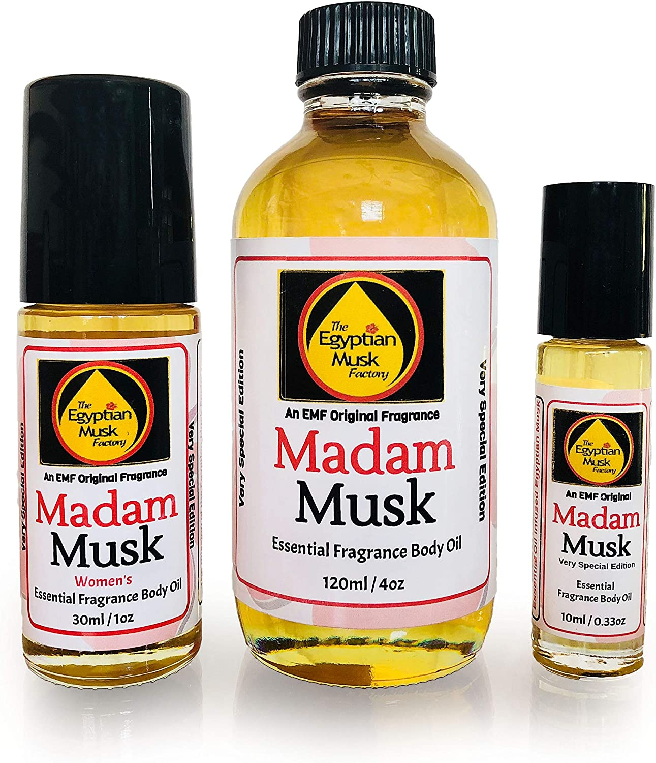 The Egyptian Musk Factory by WagsMarket - Madam Musk Perfume Oil, Essential Oil Infused Egyptian Musk Oil, Choose from 0.33oz Roll On to 4oz Glass Bottle (1oz Roll On)