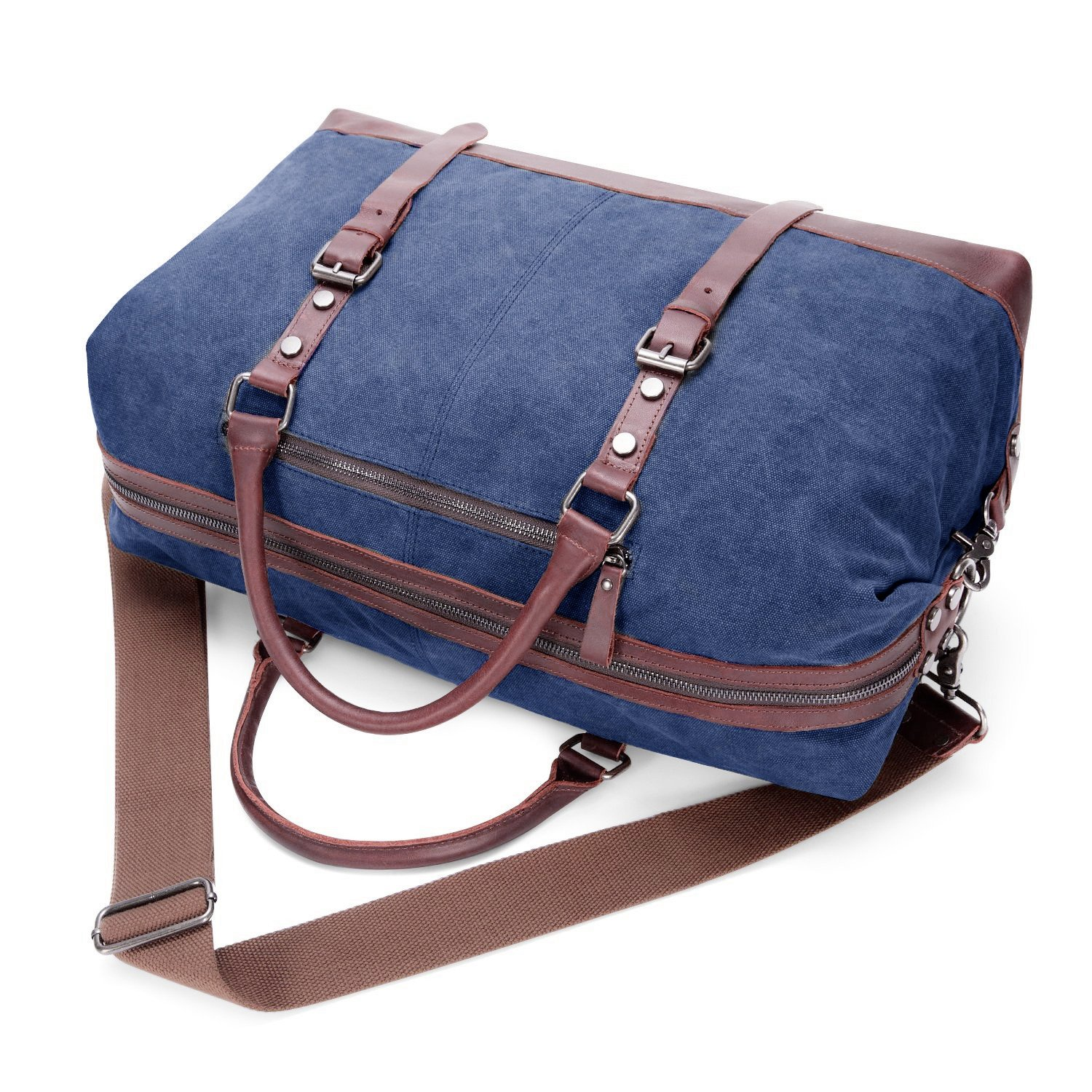 690ba655846 BAOSHA Canvas PU Leather Travel Tote Duffel Bag Carry on Bag Weekender  Overnight Bag