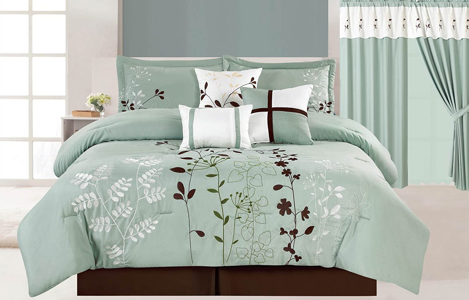 7 Pcs Floral Embroidered Microfiber Comforter Set Blue Teal