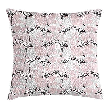 Funda de cojín romántico Throw Pillow, flamencos que forman ...