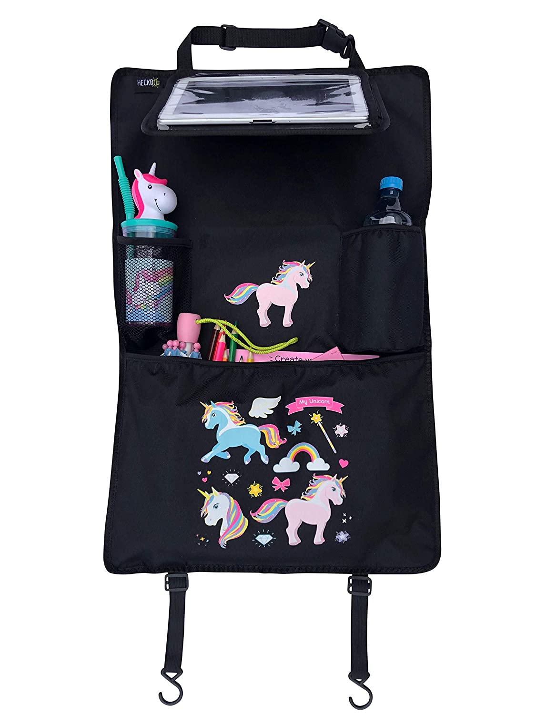 bolsillo con malla el/ástica dibujos de unicornios HECKBO/® Organizador para asiento trasero de coche con bolsillo ajustable para tabletas de hasta 20 con l/ámina t/áctil bolsillo t/érmico universal