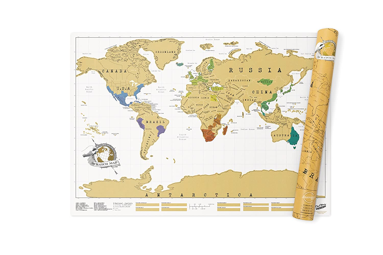 Amazon Com Luckies Of London Scratch Original Personalized World Map Wall Maps Office Products
