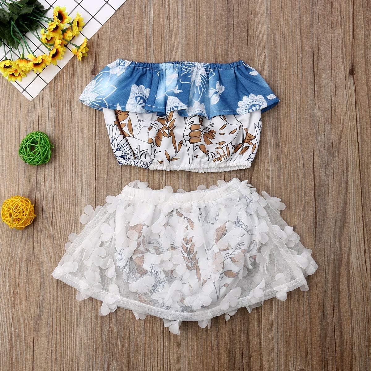 Newborn Kids Clothing Baby Girls Cute Ruffle Flower Vest Tank Top+Lace Bottom Shorts Pants 2Pcs Outfits Clothes Set
