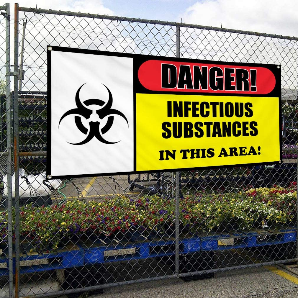Vinyl Banner Multiple Sizes Danger Infectious Substances in Area Lifestyle Outdoor Weatherproof Industrial Yard Signs 8 Grommets 48x96Inches
