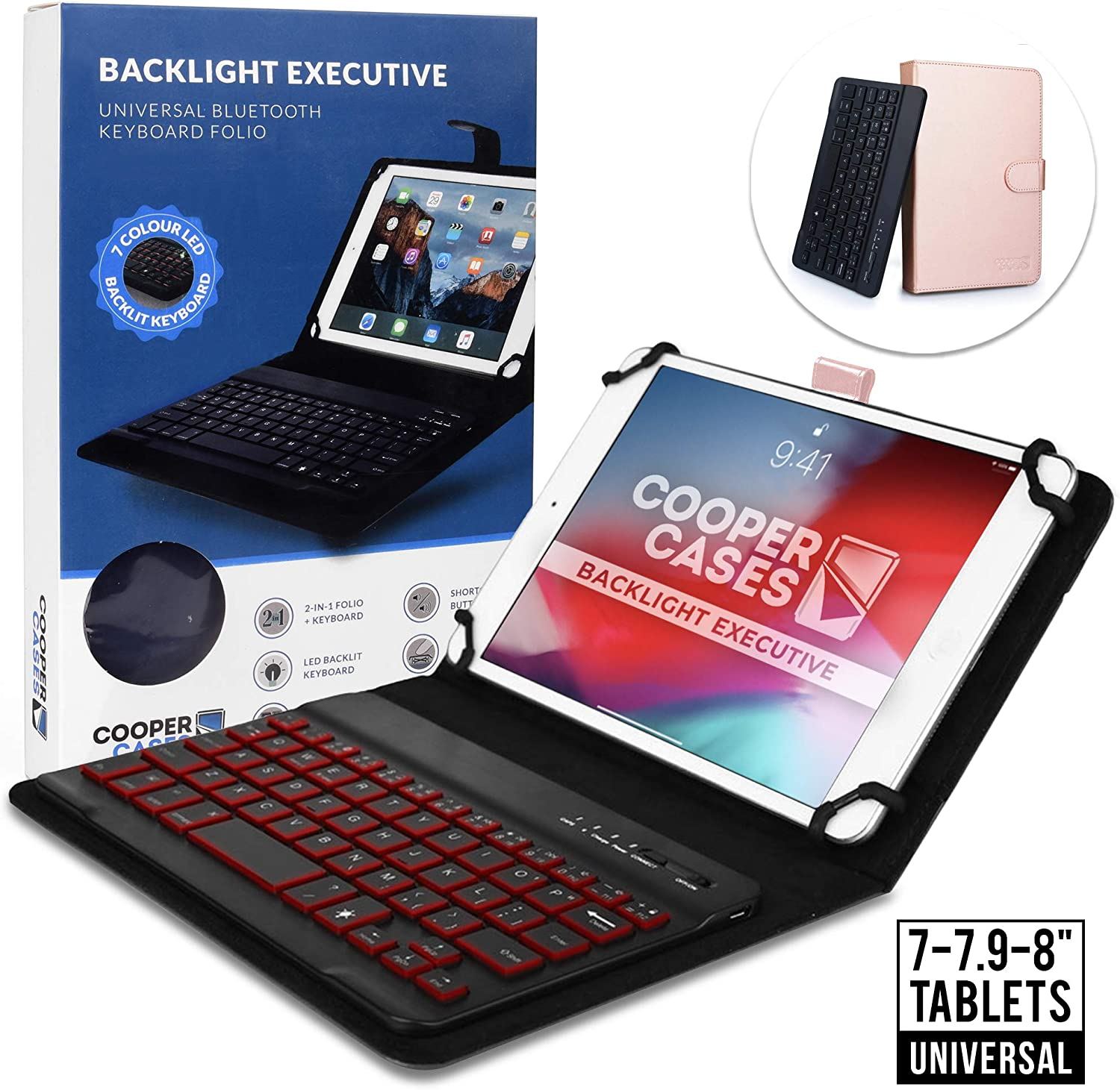 Cooper Backlight Executive Keyboard Case for 7-8 Inch Tablets | Universal Fit | 2-in-1 Bluetooth Keyboard & Leather Folio, 7 Color Backlit (Rose Gold)