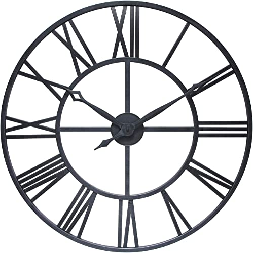 Antique Tower 30 inch Large Roman Numeral Wall Clock Indoor/Outdoor Patio Waterproof Oversized Decorative Contemporary Clock