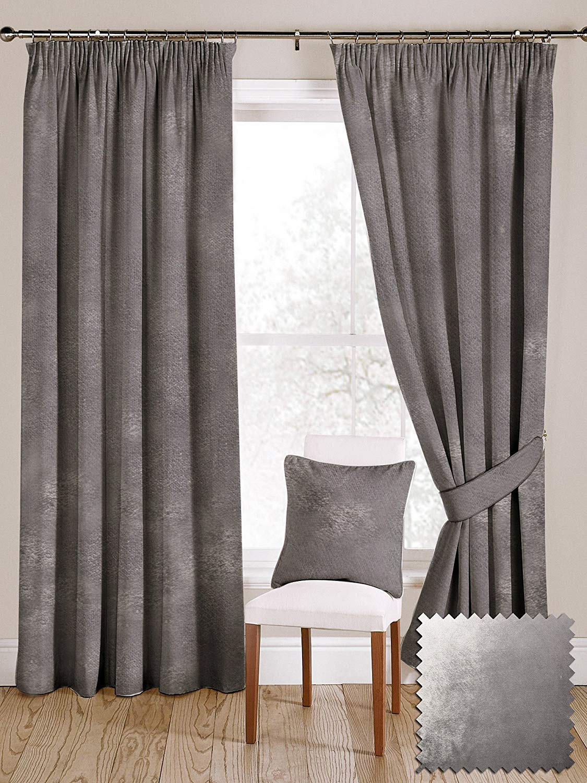 McAlister Textiles Luxury Shiny Crushed Velvet Curtains (2 Panels) | Window Treatments 84x96 | Metallic Silver Drapes