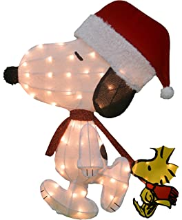 productworks 32 inch pre lit peanuts santa snoopy with woodstock christmas yard decoration